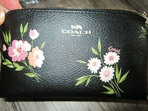 Coach Cosmetic Case 17 F73019 Tossed Daisy Black Leather in Orig Pkg