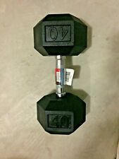 Weider DUMBBELL (1) Single 40LB RUBBER COATED HEX 40 Pound FAST SHIPPING