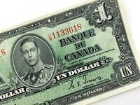 1937 Canada One 1 Dollar Circulated Canadian Coyne Towers Banknote UM Q961