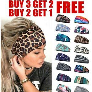 Ladies Wide Elastic Turban Head Wraps HeadBands Boho Sports Yoga Hair Band