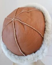 Handmade Winter Beanie Round Brown Sheepskin Shearling Fur Hat Real Leather Warm