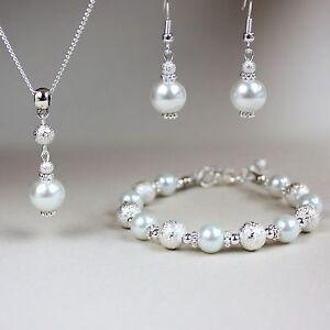White pearl necklace bracelet earrings silver wedding bridesmaid jewellery set