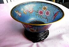 Plique-a-jour Cloisonne Bowl.very nice blue color with flowers and stand