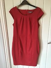 Stunning Ladies Red Body Con Style Pencil Skirt Dress Size 14