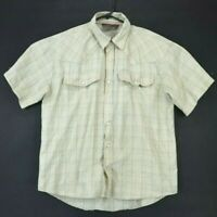 Outback Rider Men's Large Short Sleeve Pearl Snap Western Button Up Shirt Beige