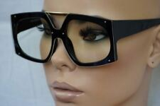 OVERSIZE EXAGGERATED SHIELD Style Clear Lens EYE GLASSES XL Thick Fashion Frame