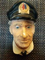 Vintage Bossons England Chalkware Head Sea Captain Retired 1972