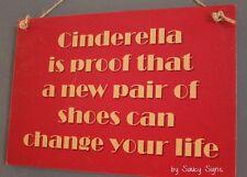 Cinderella Womens Shoes Sign -  Shop Wardrobe Shoe Stilettos Wooden Rustic Signs
