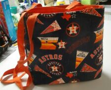 Houston Astros-Patchwork/Logos Tote Bag-Navy B/G-Machine Quilted-Hand Made