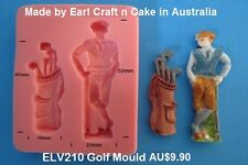 Golf Golfer Bag Silicone Mould Cake Decorating Gum Paste Sugar Cupcake Topper