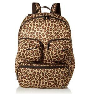 New Lug Travel Puddle Jumper PACKABLE Backpack Tote Bag LEOPARD BROWN Folds gift