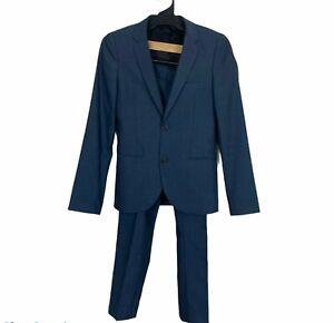 Topman Mens Blue Suit 2 Button Lined Blazer UK34 Straight Leg Pants UK30R W30L28