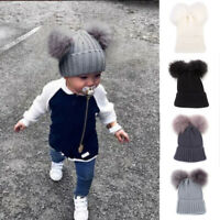 Toddler Kids Baby Girls Winter Warm Crochet Knit Hat Fur Pom Pom Beanie Cap