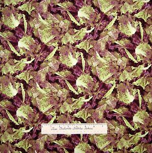 "Food Fabric - Farmer's Market Packed Green & Purple Lettuce - RJR Cotton 33"""