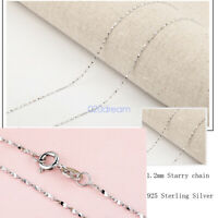 Genuine Italy .925 Sterling Silver 1.2mm Starry Chain Necklace In 16 - 24 Inches