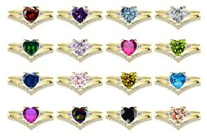 Yellow Gold Plated Elegant Birthstone Heart Sterling Silver Two Ring Chevron Set