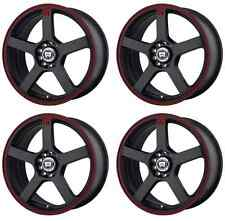 MOTEGI RACING MR116 MR11677031740 RIMS SET OF 4 17X7 40MM OFFSET 5X100 BLACK/RED