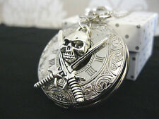New Large Pirate Skull Goth Steampunk Silver Tone Pocket Watch Necklace Gift