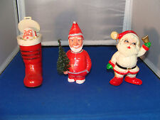 (Lot of 3) Vintage Hard Plastic Santa Claus Collectibles Germany Hong Kong