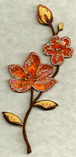 Flowers - Autumn Colors - W/Beads-  Embroidered Iron On Applique Patch