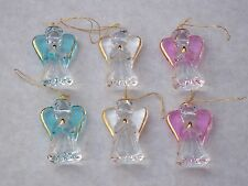 6 x gardien Angels@CHRISTMAS arbre Decorations@BLUE @PINK @WHITE @Glass @ 22Kt gold