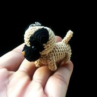 New Pug Crochet Dog Amigurumi Miniature Handmade Keychains Animal Doll Cute Gift