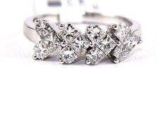 Princess Cut Diamond Hearts Cluster Ring Band 18k White Gold 1.24Ct