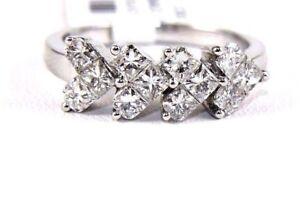 Natural Princess Cut Diamond Hearts Cluster Ring Band 18k White Gold 1.24Ct