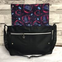Bespoke Dr Who Themed Dark Navy Waxed Canvas Messenger Cross Body Bag
