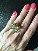 """NEW """"designer inspired"""" Light Yellow CZ Ring cable detail & Pave Prong size 6"""