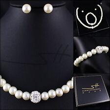 Perlen-Set: Halskette+Armband+Ohrstecker, Weißgold pl, Swarovski Elements, +Etui