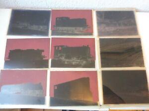 9 alte Negativplatten , Negative Lokomotiven , Fried. Krupp Maschinenfabrik !