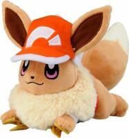 Takara Tomy Pokemon Soft Plush Furry Doll Shoulder Let's Go Eevee with cap
