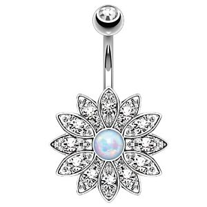 BodyJ4You Belly Button Ring Flower Paved Crystal 14G Navel Banana Body Piercing