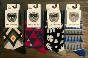 4 Pack - New Pair of Thieves Men Crew Socks-Pattern-Multi-colored- Size 8-12
