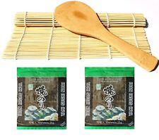 Sushi Roll Matte aus Bambus + Reislöffel + 2x 10 Nori Algenblätter sushiset