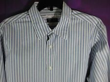Structure Premium Woven Button Up Shirt Medium 38/40 100% Cotton Blue Striped