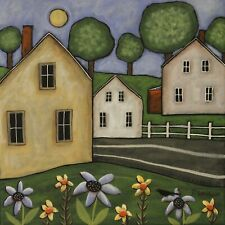 Maine Homes 12 x 12 x 3/4 ORIG CANVAS PAINTING Folk Art Primitive Karla Gerard
