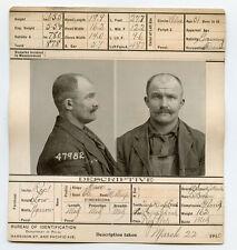 1910, ORIGINAL crime mugshot, GERMAN, raurke, FIREMAN, brutish burglar, CHICAGO