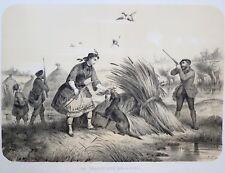 Lithographie originale, La chasse aux bécasses, Victor Adam, milieu du XIXème