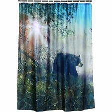"""NEW Bear Shower Curtain Polyester Washable 70"""" x 72"""" Rings Included Lodge Theme"""