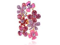 Fun Cute Flirty Bright Rose Pink Rhinestone Gathering Flower Floral Cluster Ring