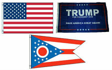 3x5 Trump #1 & Usa American & State of Ohio Wholesale Set Flag 3'x5'