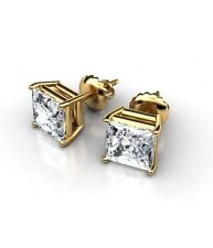 1ct Princess Cut Square Stud Earrings 14K Solid Yellow Gold Basket Screwback
