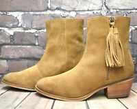 Womens Esprit Tan Suede Zip Up Low Heel Ankle Boots Size UK 5 EUR 38
