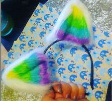 Neon Rainbow UV Reactive Glow in the dark costume Kitty Fox Ears Cat Kitty