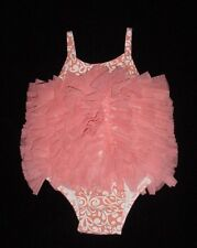 EUC Mud Pie Baby FLAMINGO FUN COLLECTION Pink Damask Tulle Ruffle Bubble 9-12 M