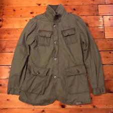 G Star Raw Denim Long Green Khaki Army Military Jacket Extra Large XL Coat Parka