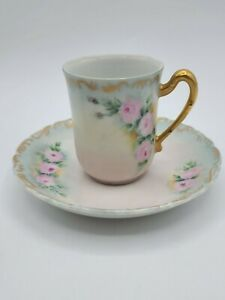Set of (4) Limoges? Style Unbranded Chocolate Cup & Saucer Hand Painted & Signed