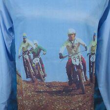 NOS vtg 70s MOTOCROSS PHOTO PRINT L/S JERSEY T-Shirt XS motorcycle mx biker 80s
